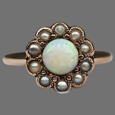 Antique 14k Yellow Gold Cabochon Opal Seed Pearl Ring Flower Late Victorian Early Edwardian