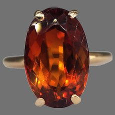 Vintage Madeira Citrine Cocktail Solitaire 14k Yellow Gold Modernist Retro Ring