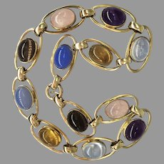 Vintage Semi-Precious Stone Cabochon Choker Necklace Moonstone Chalcedony Amethyst Citrine Rose Quartz Citrine Topaz
