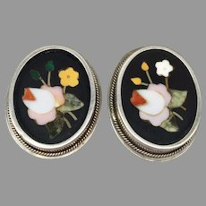 Antique Victorian Pietra Dura Floral Flower Roses Leaves Sterling Silver Earrings Marble Onyx