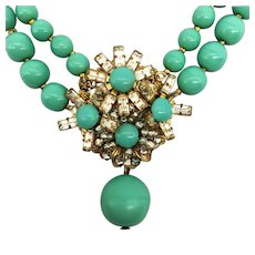 Vintage Miriam Haskell Signed Faux Persian Turquoise Dangle Rhinestone Choker Necklace 1950's Costume Double