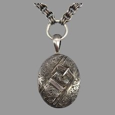 Antique Victorian Large Engraved Aesthetic Movement Buckle Locket Pendant and Book Chain Silver