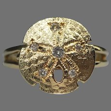 Vintage Sand Dollar Diamond 14k Yellow Gold Ring Figural Beach Ocean Marine Animal Summer