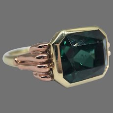 Vintage Art Deco 1930's - 1940's Green Blue Tourmaline Rose and Yellow 585 14k Gold Ring