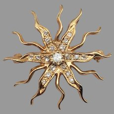 Antique Edwardian 14k Gold Diamond Sun Star Starburst Pendant Pin Brooch Belle Epoque