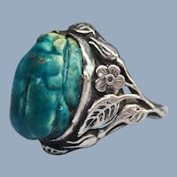 Antique Arts and Crafts Scarab Ring Egyptian Revival Faience Foliate Leaves Floral Sterling Silver
