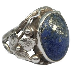 Antique Edwardian Arts and Crafts Lapis Lazuli Cabochon Floral Foliate Sterling Silver Ring Leaves