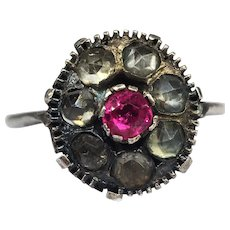Antique Georgian Ruby and Paste Ring 800 Silver Handmade Early 1700's