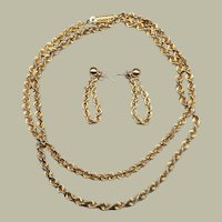 Classic 14k Yellow Gold Necklace & Earrings Earring Set Spiral Chain Demi Parure JCM
