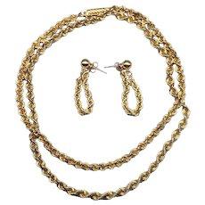 Classic 14k Yellow Gold Necklace & Earrings Earring Set Spiral Chain Demi Parure JCM