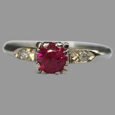 Antique Art Deco 14k White Gold Ruby Diamond Ring Engagement Stackable 1915-1925