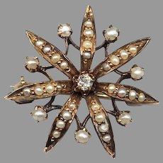 Antique 14k Yellow Gold Old European Cut Diamond Seed Pearl Brooch Pin Star Flower