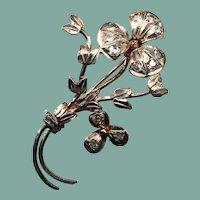 Antique Paste Stone Sterling Silver Brooch Etched Carved flower Design ET230