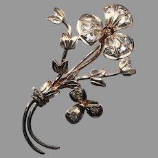 Vintage Sterling Silver & Paste Flower Floral Brooch Pin Bouquet Leaves Foliate