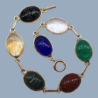 Vintage Scarab Cabochon Gemstone Bracelet 10k 14k Yellow Gold Paperclip Links Egyptian Revival Signed