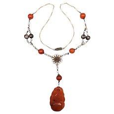 Vintage Gilt Silver Filigree Carved Carnelian Asian Drop Necklace Art Deco Dangle Beads Handmade