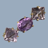 Antique Victorian Square Oval Amethyst Brooch Pin 1800's C-Clasp Gilt 800 Silver