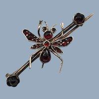 Antique Victorian Fly Bug Insect Bohemian Garnet Brooch Pin 9k Karat Rose Gold 1800's