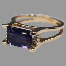 Purple Tourmaline & Diamond Ring 14k Yellow Gold Signed