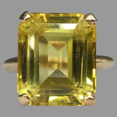 Vintage Emerald Cut Lab Created Yellow Sapphire Ring 10k Gold Signed L&J Solitaire Cocktail