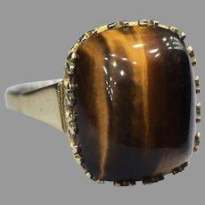 Vintage Tiger's Eye Cabochon Ring 8k 333 Yellow Gold Retro Signed Hallmark