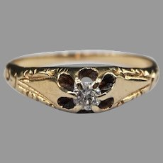 Antique Victorian 1890's 15k Yellow Gold Belcher-Set Diamond Solitaire Ring Signed