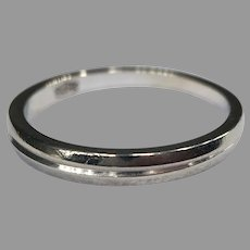 Vintage 14k White Gold Wedding Band Mid-Century Modern Stackable Ring Unisex