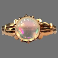 Antique Victorian Belcher Set Jelly Opal Cabochon 15k Yellow Gold Ring Greek Revival