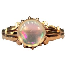 Antique Victorian Belcher Set Jelly Opal Cabochon 15k Rose Yellow Gold Ring Greek Revival