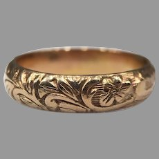 Antique Georgian Repousse Chased Rose 15k Gold Filled Floral Wedding Band Leaves Flowers Repoussé