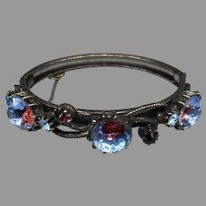 Vintage Faux Saphiret Glass Bangle Bracelet Signed Florenza Costume Victorian Revival Snake