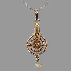 Antique Art Deco Edwardian 10k Yellow Gold Diamond Lavalier Pendant 14k Necklace & Chain