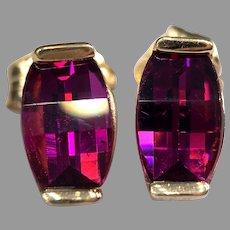 Fancy Cut Rhodolite Garnet 14k Yellow Gold Stud Earrings Fuchsia Pink Purple Signed