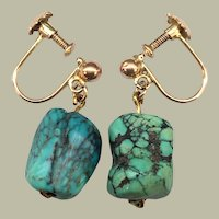Antique Arts and Crafts Spiderweb Turquoise Nugget Rose Yellow 9k Gold Dangle Drop Earrings