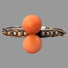 Antique Victorian Coral Seed Pearl 8K Rose Gold Ring German Delicate c1885-1900