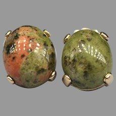 Vintage Unakite Granite Cabochon 14k Yellow Gold Stud Earrings Green Salmon Orange