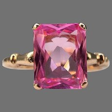 Vintage Art Deco Retro 10k Yellow Gold Pink Sapphire Ring Signed ~1930