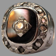 Vintage Diamond Onyx Trucker Ring J.B.Hunt MASSIVE & UNUSUAL