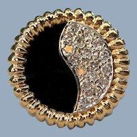 Black Onyx Pave Diamond Yin Yang Ribbed 14k Yellow Gold Statement Cocktail Ring Unisex