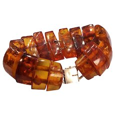 Cognac Baltic Amber 14k Yellow Gold Segmented Bracelet Box Clasp with Safety Latch