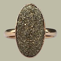 Antique Victorian 10k Rose Gold Pyrite Fool's Fools Gold Oval Ring Arts and Crafts