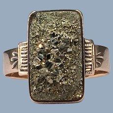 Antique Victorian Greek Revival Pyrite Fool's Fools Gold 14k Rose Gold Ring Romantic Inscription