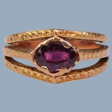 Antique Edwardian to Art Deco 12k Rose Gold Garnet Triple Band Ring OOAK