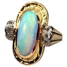 Opal Cabochon & White Zircon 18k 750 Gold Signed J.B.