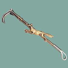 Antique Victorian or Edwardian Fox Riding Crop Brooch Pin 9k Yellow Gold Sterling Silver Unisex