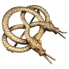 Antique Georgian Gilt Sterling Silver Handmade Snake Brooch Pin Eternal Love Symbolism