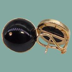 Classy Vintage 14k Yellow Gold Black Onyx Cabochon Earrings Omega Back Large Pierced Comfortable