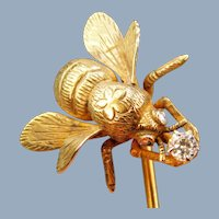 Antique Victorian 14k Gold Diamond Bee Insect Bug Rose Cut Eyes Stick Tie Pin