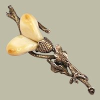 Antique Victorian Stag Tooth Teeth Gilt Silver Brooch Pin Branch Leaves Foliate Handmade German