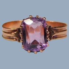 Antique Victorian 12k Rose Gold Radiant Cut Amethyst Greek Revival Ring Size 6.5 Delicate